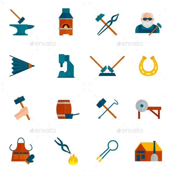 GraphicRiver Blacksmith Icon Flat 10198257
