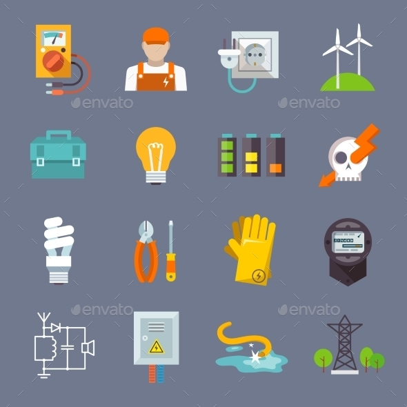 GraphicRiver Electricity Icon Flat 10198272