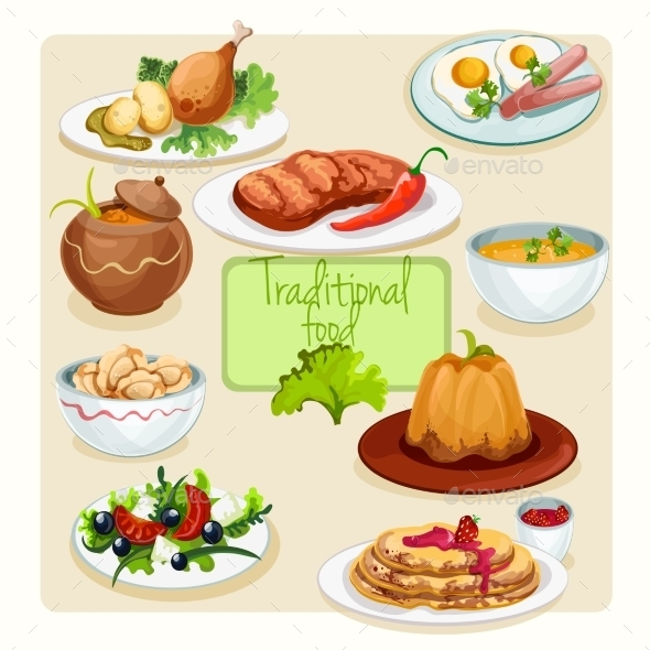 GraphicRiver Traditional Food Dishes Set 10198284