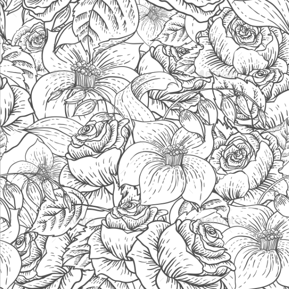 GraphicRiver Seamless Monochrome Floral Pattern with Roses 10198454