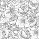 Seamless Monochrome Floral Pattern with Roses - GraphicRiver Item for Sale