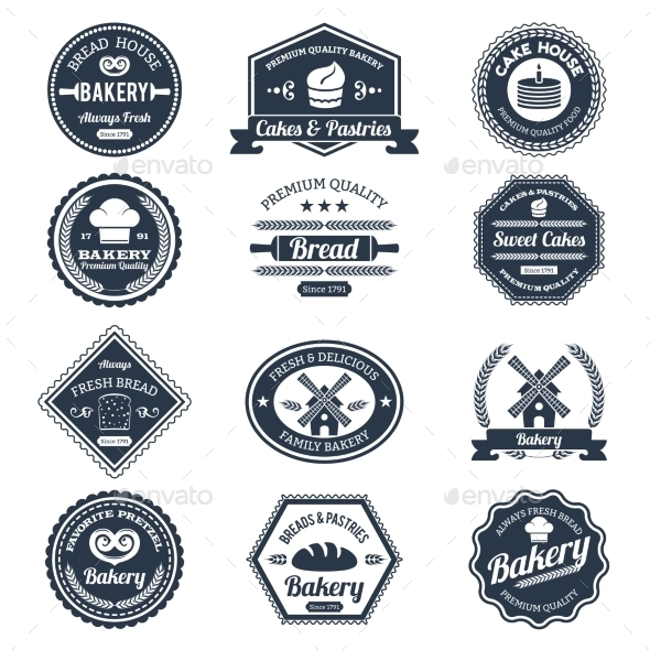 GraphicRiver Bakery Labels Black 10198461
