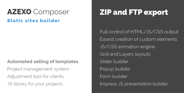Azexo Composer Site Builder for HTML Templates