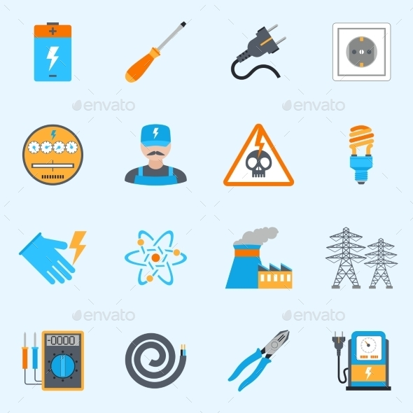 GraphicRiver Electricity Icons Set 10198485