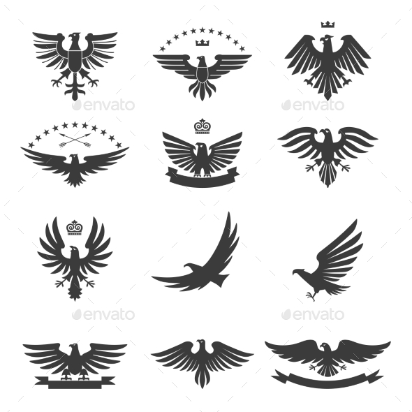 GraphicRiver Eagles Set Black 10198488