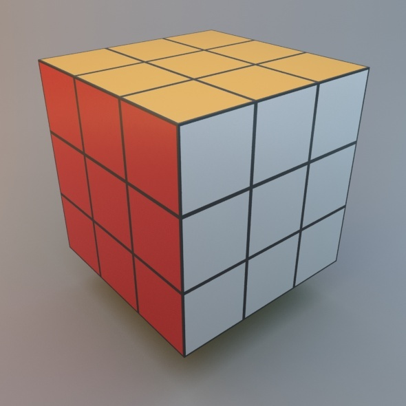 Rubic Cube Low Poly Standard&MentalRay Material