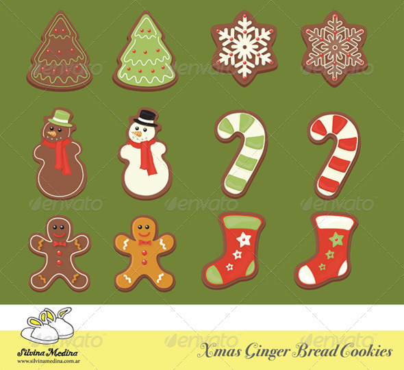 GraphicRiver Christmas Gingerbread Cookies Collection 1027672