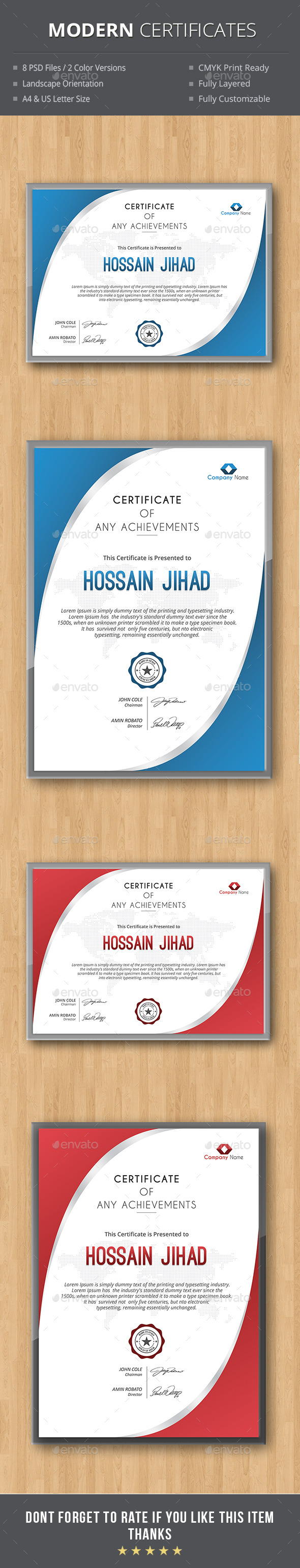 GraphicRiver Modern Certificates 10198501