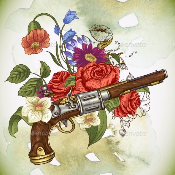 GraphicRiver Vintage Card with a Gun and Flowers 10198517