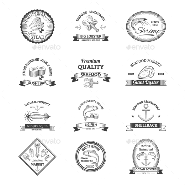 GraphicRiver Seafood Retro Emblems 10198541
