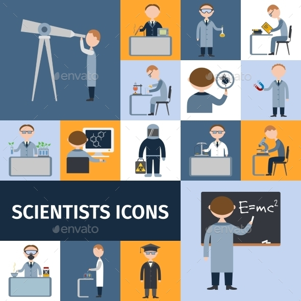 GraphicRiver Scientists Icon Set 10198548