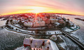 View of the historic city of Vyborg from St. Olav tower, at dawn - PhotoDune Item for Sale