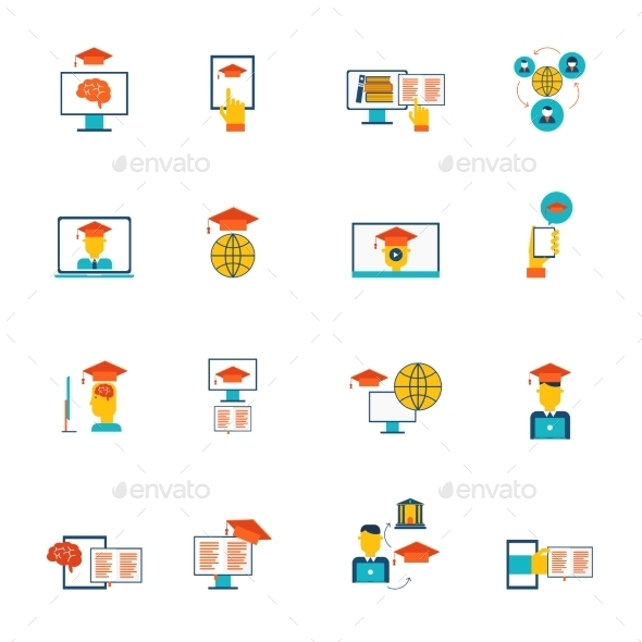 Online Education Icons Flat