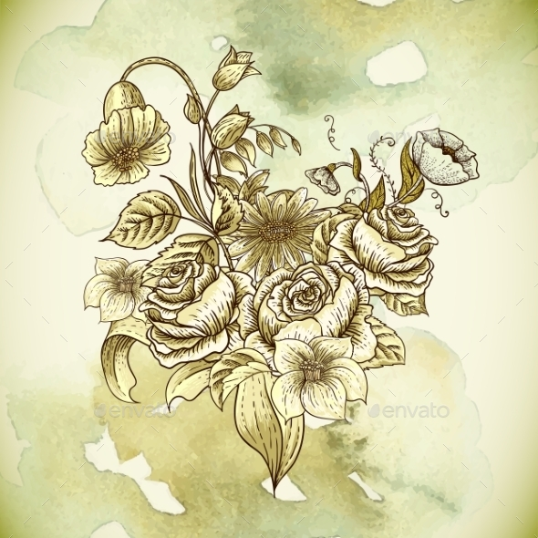 GraphicRiver Vintage Floral Card with Roses and Wild Flowers 10198613