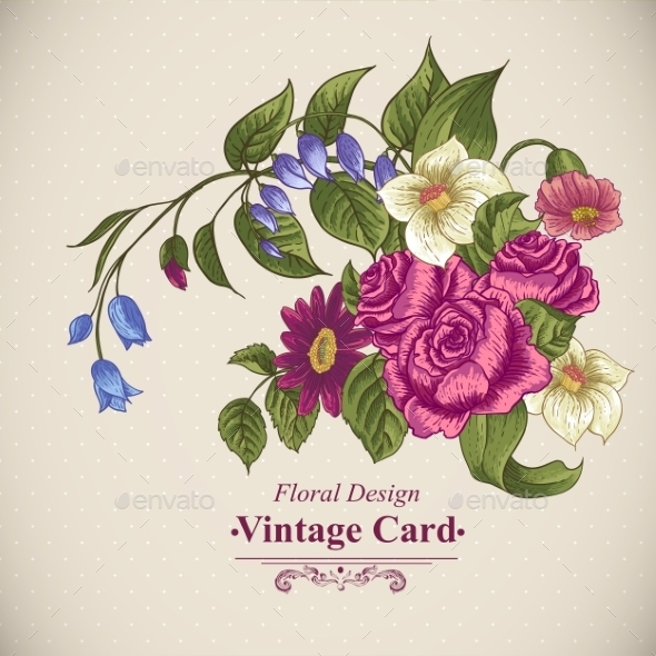 GraphicRiver Vintage Floral Card with Roses and Wild Flowers 10198620