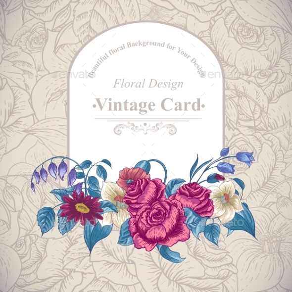 GraphicRiver Vintage Floral Card with Roses and Wild Flowers 10198630