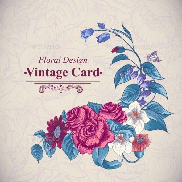 GraphicRiver Vintage Floral Card with Roses and Wild Flowers 10198758