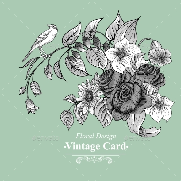 GraphicRiver Vintage Floral Card with Roses and Wild Flowers 10198785