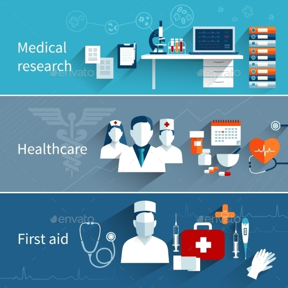 GraphicRiver Medical Flat Banners 10198810