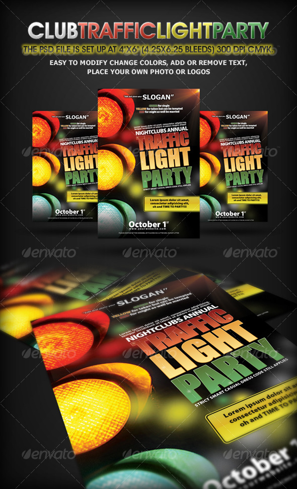 Traffic Light Party Nightclub Flyer - Clubs & Parties Events