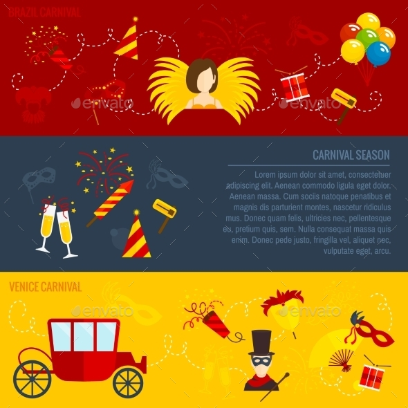 GraphicRiver Carnival Flat Banners Set 10198940