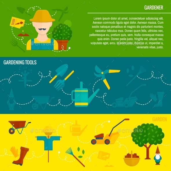 GraphicRiver Vegetable Garden Horizontal Banners Flat 10198941