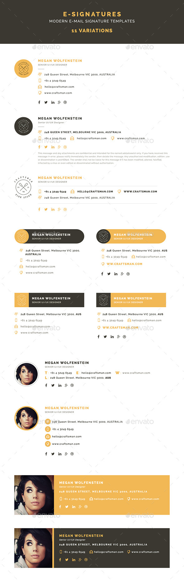 GraphicRiver E-Signatures Modern E-mail Signature Templates 10199109