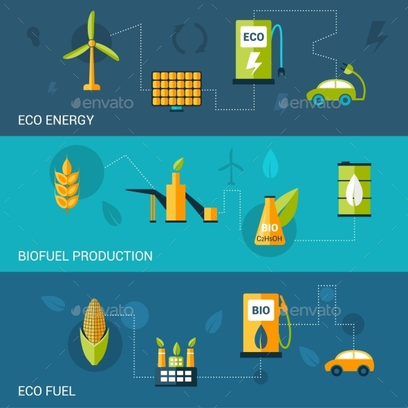 GraphicRiver Bio Fuel Flat Banners 10199155