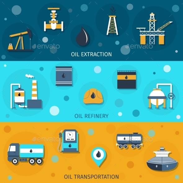 GraphicRiver Oil Industry Flat Banners 10199164