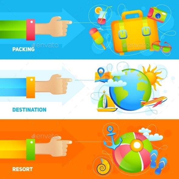 GraphicRiver Summer Vacation Banner Set 10199196