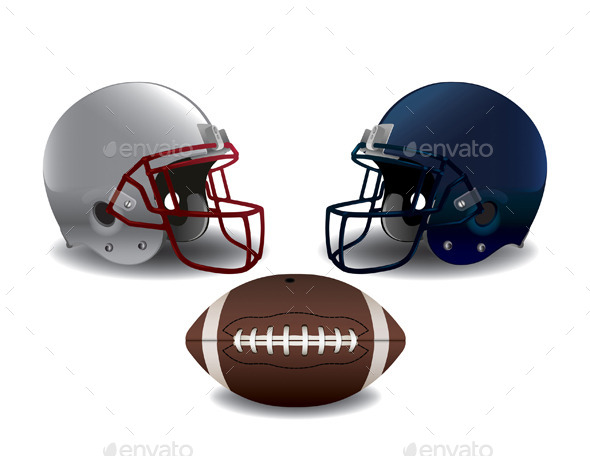 GraphicRiver American Football Helmets and Ball Isolated 10199421