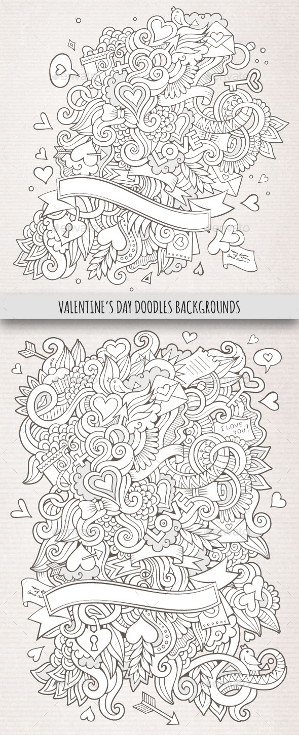 GraphicRiver 2 Love Doodles Backgrounds 10199781