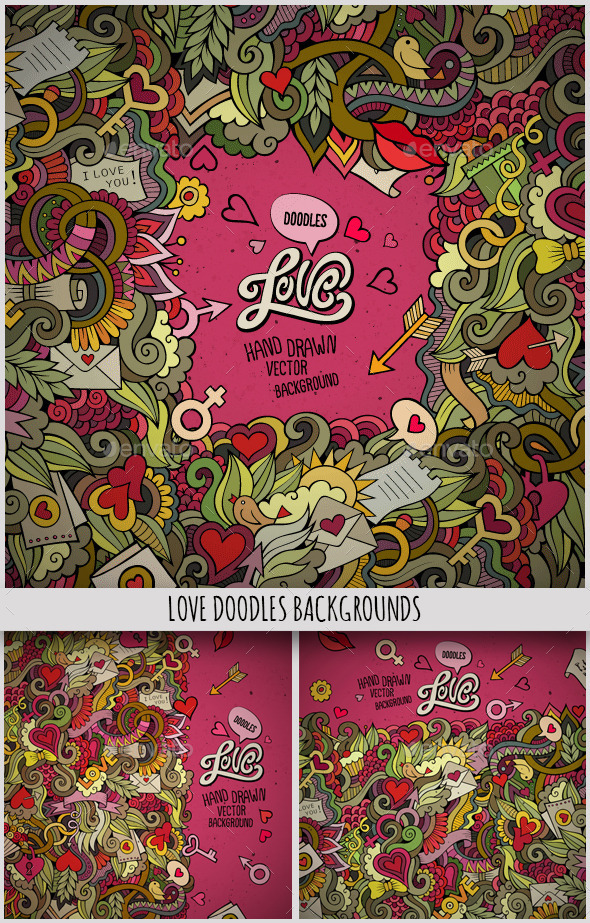 GraphicRiver 3 Love Doodles Frames 10199890