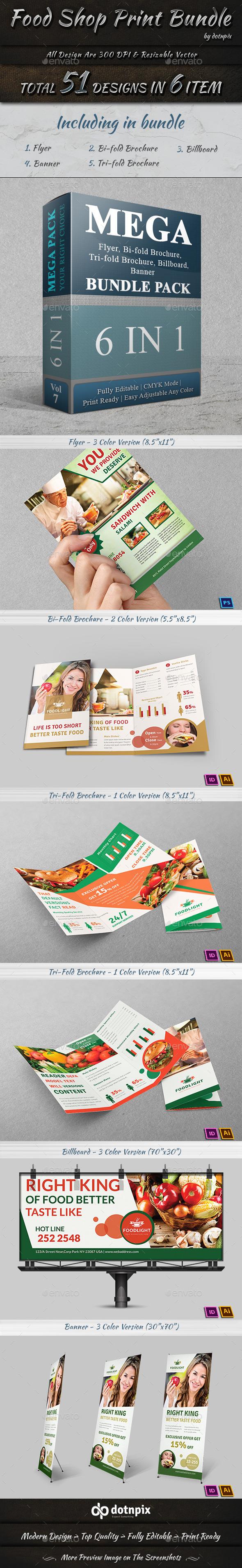 GraphicRiver Food Shop Print Bundle 10200153