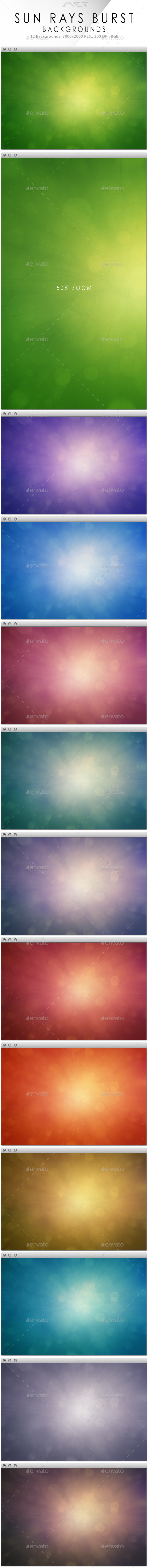 GraphicRiver Sun Rays Burst Backgrounds 10200781