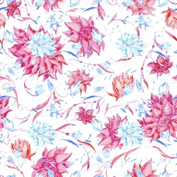GraphicRiver Blue and Pink Watercolor Pattern 10200869