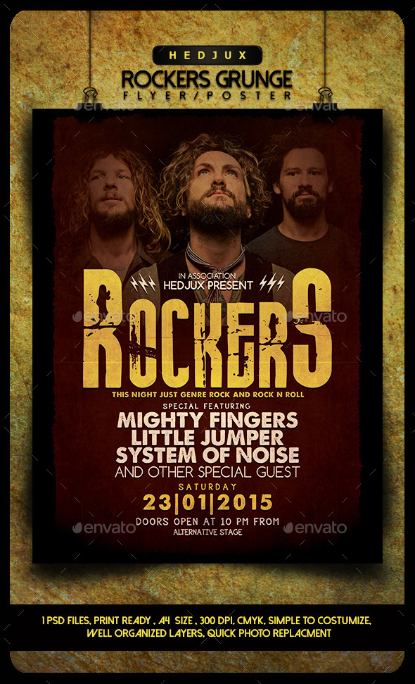 GraphicRiver Rockers Grunge Flyer 10202208