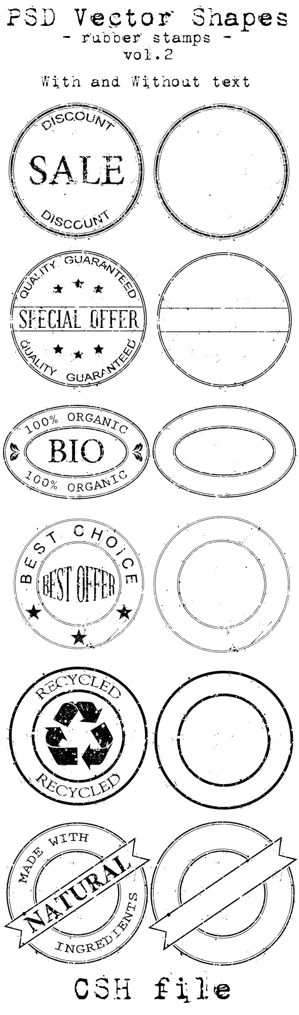 PSD Vector Shapes rubber stamps Vol 2