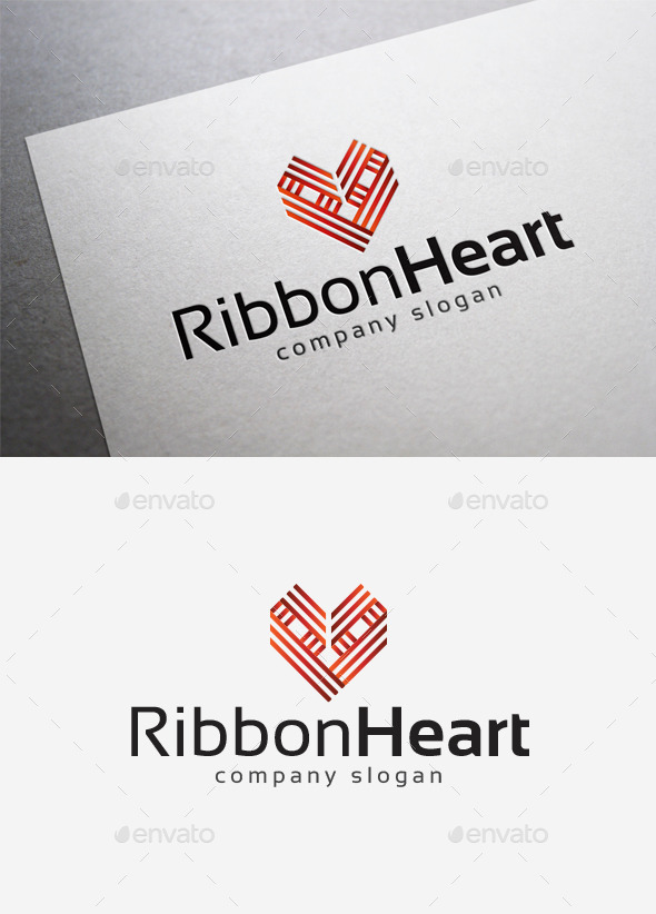 GraphicRiver Ribbon Heart Logo 10202275