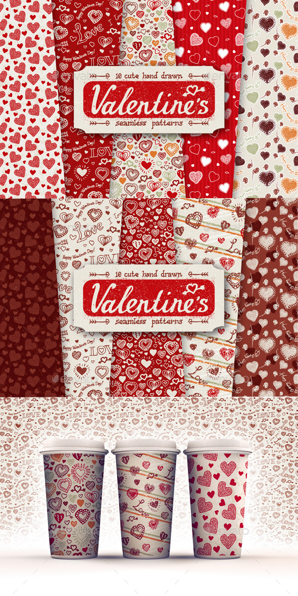 GraphicRiver 10 Valentines Day Patterns 10202665