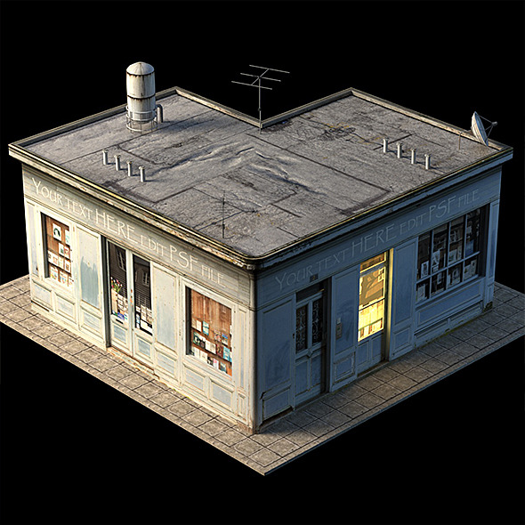 3DOcean Small Shop Building Low Poly 10202815