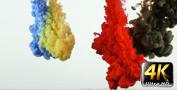 Colorful Paint Ink Drops Splash in Underwater 9