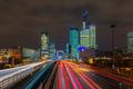 Night road with skyscrapers of La Defense, Paris, France. - PhotoDune Item for Sale