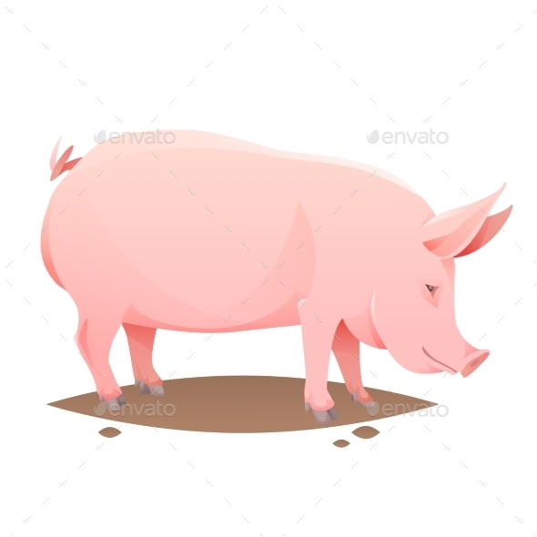 GraphicRiver Pink Farm Pig 10205089