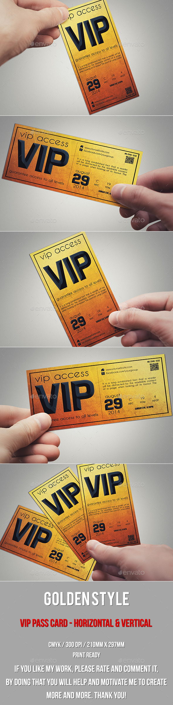 GraphicRiver Golden style vip pass card 10205286