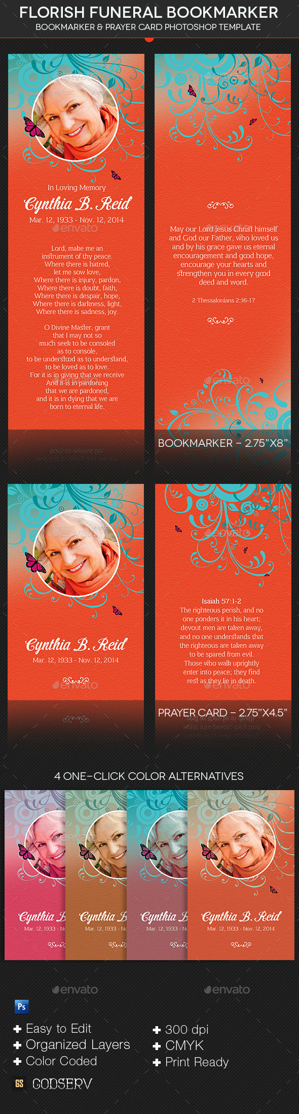 GraphicRiver Florish Funeral Bookmarker Template 10205434