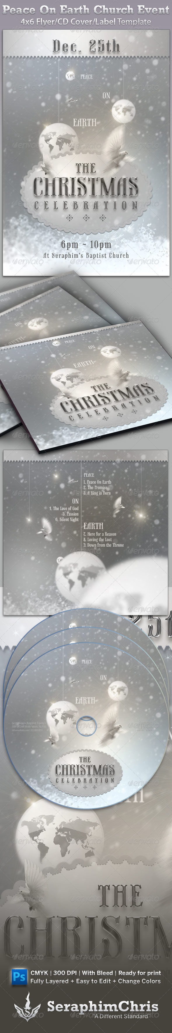 Peace On Earth: Church Flyer and CD Template - Church Flyers