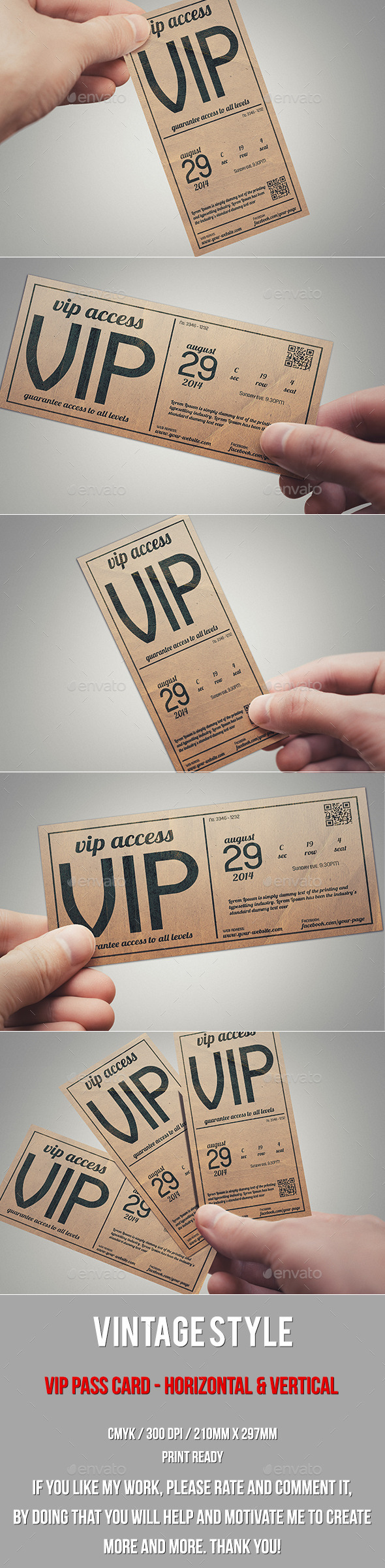 GraphicRiver Vintage Style Vip Pass Card 10206082