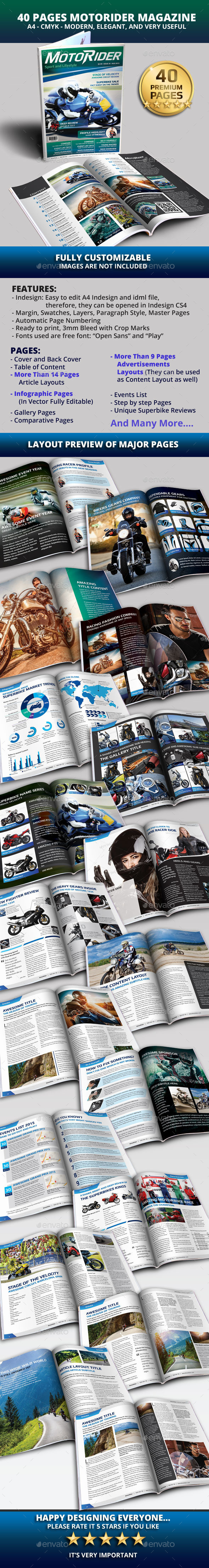 GraphicRiver 40 Pages A4 MotoRider Racing Magazine Template 10206294
