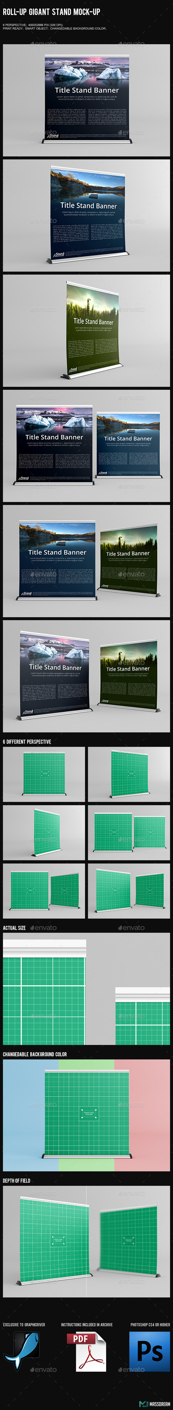 GraphicRiver Roll-Up Gigant Stand Mock-Up 10207991